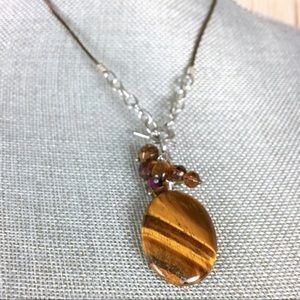 Jewelry - Faux Golden Tiger Eye Leather Necklace